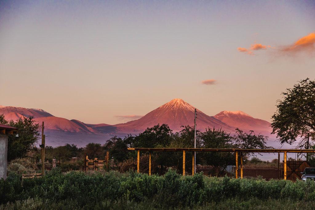 Volcano seen from Airbnb in San Pedro de Atacama