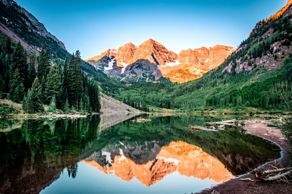 Maroon Bells in the morning sun