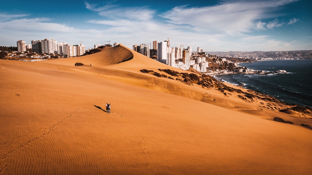 Large sand dune at the Concon Dunes near Vina del Mar