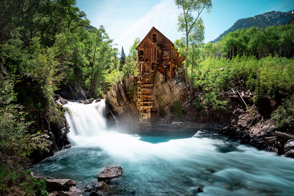 Silky Waterfall next to Crystal Mill near Marble, Colorado